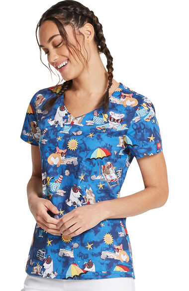 Women's Suns Out Funs Out Print Scrub Top, , large