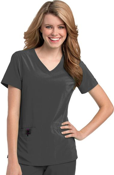 Women's Motivate V-Neck Solid Scrub Top with Tonal Stitching, , large