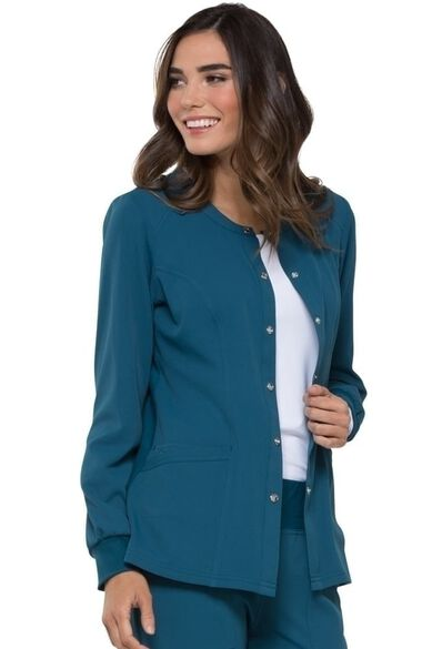 Women's Snap Front Warm-Up Solid Scrub Jacket, , large