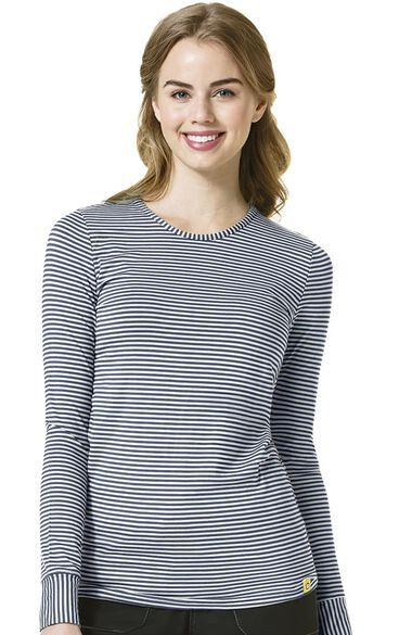 Women's Silky Long Sleeve Stripe Print Underscrub T-Shirt, , large