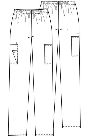 Women's Scrubs Elastic Waist Utility Scrub Pants, , large