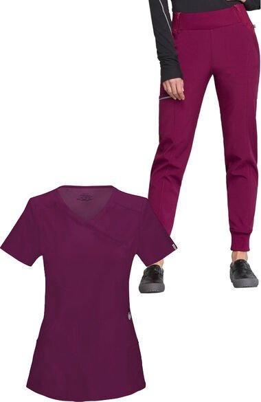 Women's Mock Wrap Solid Scrub Top & Tapered Jogger Scrub Pant Set, , large