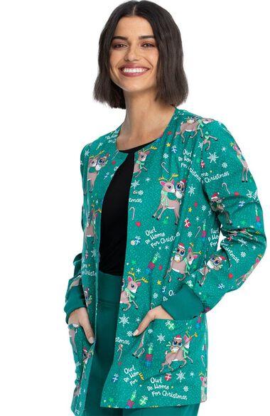 Women's Owl Be Home Print Scrub Jacket, , large
