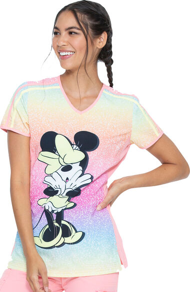 Women's Minnie Sparkles Print Scrub Top, , large