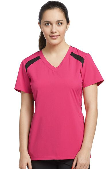 Clearance Women's V-Neck Mesh Contrast Solid Scrub Top, , large