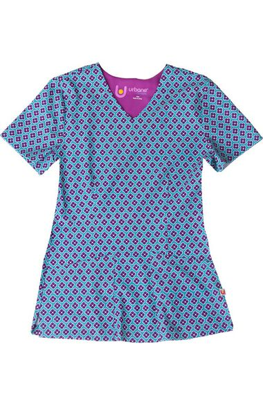 Clearance Women's V-Neck Round About Teal Print Scrub Top, , large