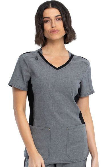 Women's Stylized Solid Scrub Top, , large