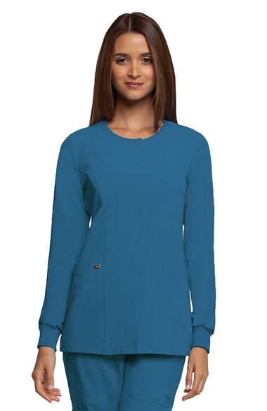 Signature by Grey's Anatomy Women's 2 Pocket Snap Front Solid Scrub Jacket, , large