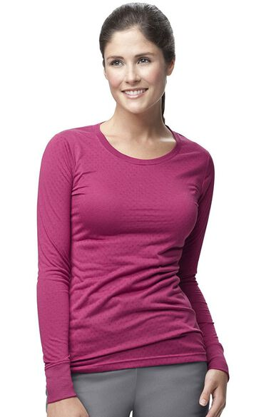 Clearance Women's Long Sleeve Burn Out Solid Underscrub, , large
