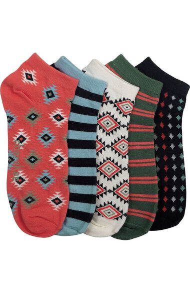 Clearance Women's Coral Craze Print 5 Pair No Show Socks, , large