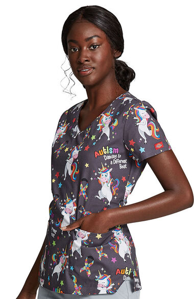 Women's A Different Beat Print Scrub Top, , large
