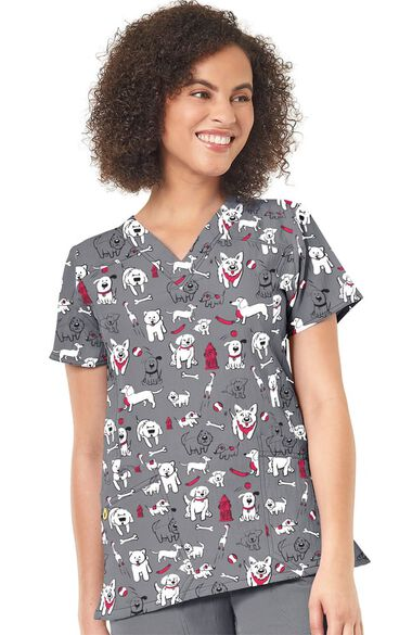 Clearance Women's Fido Fighter Print Scrub Top, , large