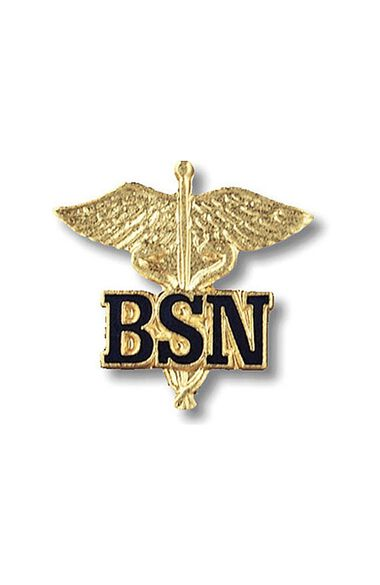 BSN - Bachelor Of Science Nursing (Letters On Caduceus) Pin, , large