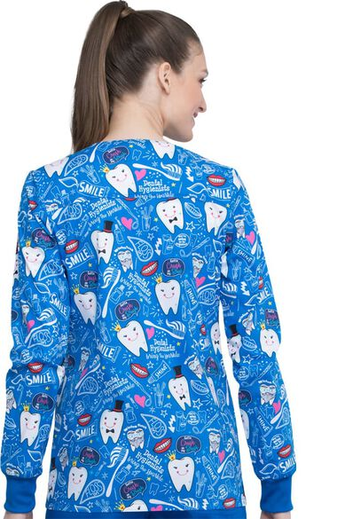Clearance Women's Bring The Sparkle Print Scrub Jacket, , large