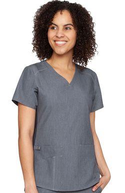 Women's Kerri V-Neck Shirttail Solid Scrub Top