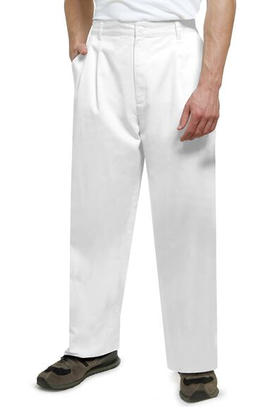 Clearance Men's Twill Pleated Solid Scrub Pant, , large