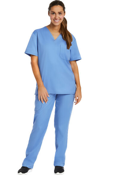 Unisex Solid Scrub Top & Tapered Scrub Pant Set, , large