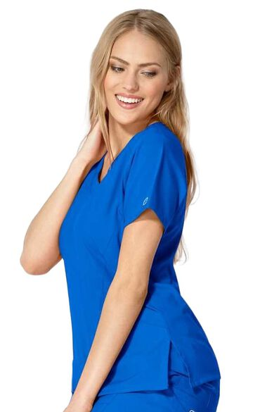Women's Stylized V-Neck Solid Scrub Top, , large
