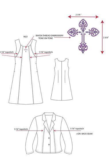 Women's Sleeveless Embroidered Scrub Dress with Jacket, , large