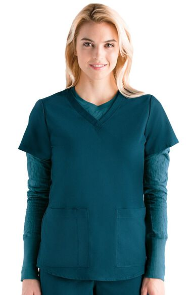 Grey's Anatomy Classic Women's V-Neck Shirred Back Solid Scrub Top, , large