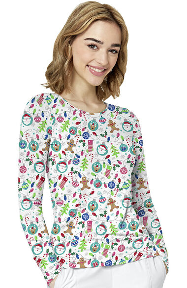Women's Merry And Bright Print Underscrub, , large