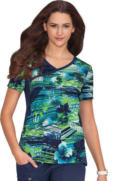 Clearance Women's Raquel Paradise Print Scrub Top, , large