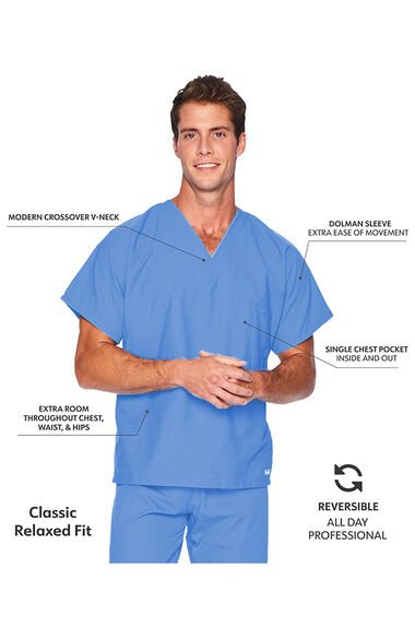 Unisex Reversible V-Neck Classic Fit Solid Scrub Top, , large