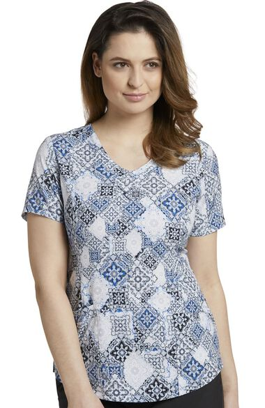 Clearance Women's Rounded V-Neck Vintage Baroque Print Scrub Top, , large