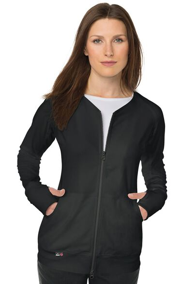 Women's Clarity Zip Front Solid Scrub Jacket, , large