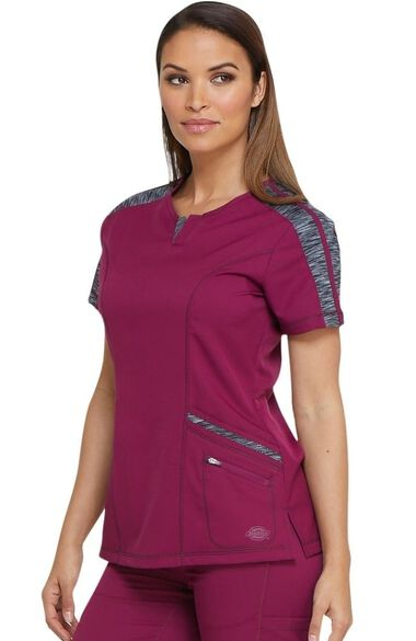 Clearance Women's Shaped V-Neck Solid Scrub Top, , large