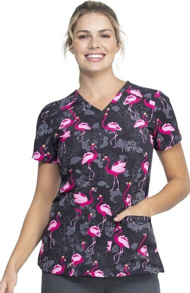 Clearance Women's Lets Flamingle Print Scrub Top, , large