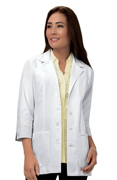 """Women's ¾ Sleeve 29"""" Lab Coat with Lace Detail, , large"""