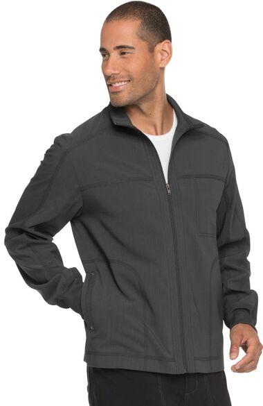 Clearance Men's Zip Front Solid Scrub Jacket, , large