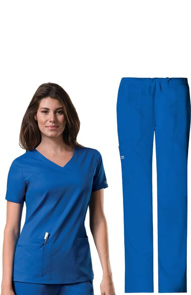 Women's V-Neck Scrub Top & Drawstring Scrub Pant Set, , large