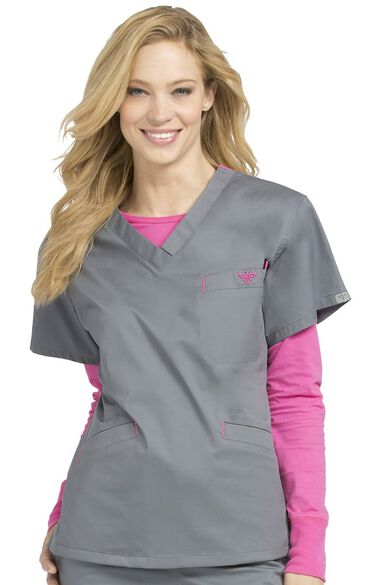 Women's Signature V-Neck Solid Scrub Top, , large