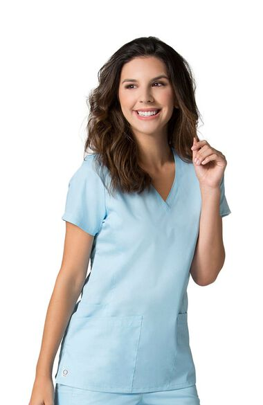 Women's COOLMAX V-Neck Mesh Panel Solid Scrub Top, , large