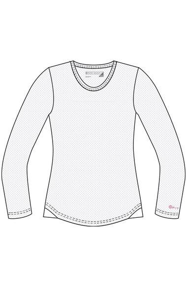 Women's Long Sleeve Mesh Solid T-Shirt, , large