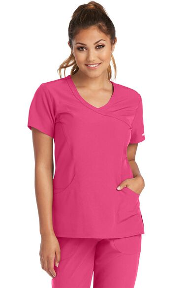 Women's Reliance Mock Wrap Solid Scrub Top, , large