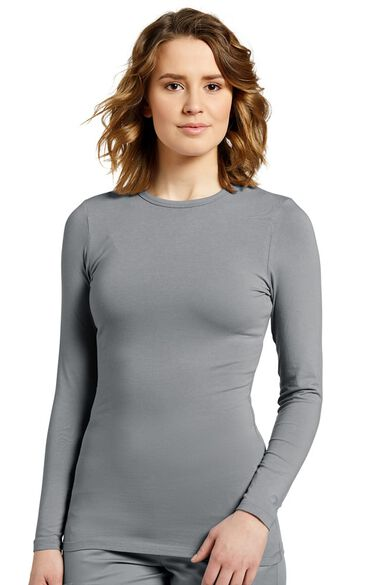 Women's Long Sleeve Crew Neck Solid Stretch T-Shirt, , large