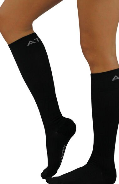 About The Nurse Unisex Knee High 20-30 MmHg Black Solid Compression Sock, , large