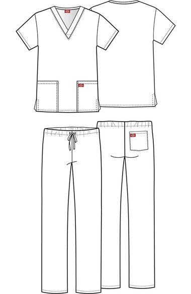 Clearance Unisex V-Neck Top & Drawstring Pant Scrub Set, , large