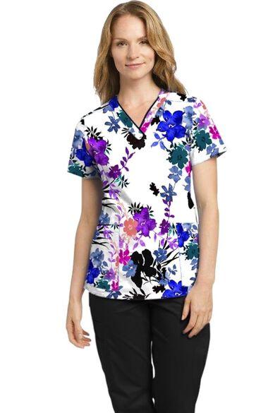 Women's Fabulous Fern Floral Print Scrub Top, , large