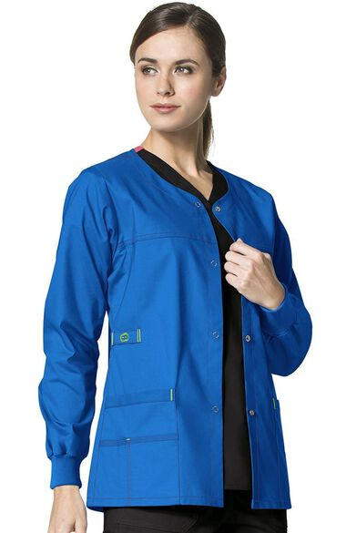 Women's Constance Snap Front Solid Scrub Jacket, , large