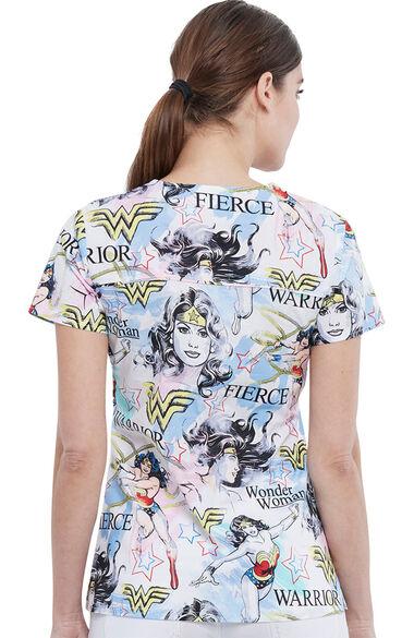 Women's Fierce Hero Print Scrub Top, , large