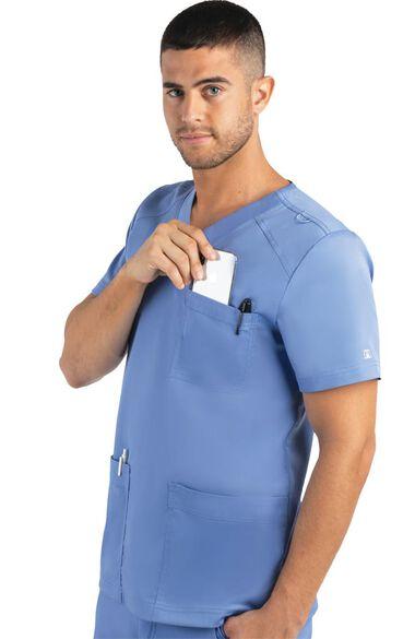 Men's Basic Multi-Pocket Solid Scrub Top, , large