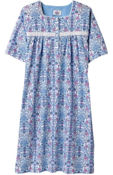 Clearance Silvert's Women's Adaptive Lacey Print Patient Gown, , large