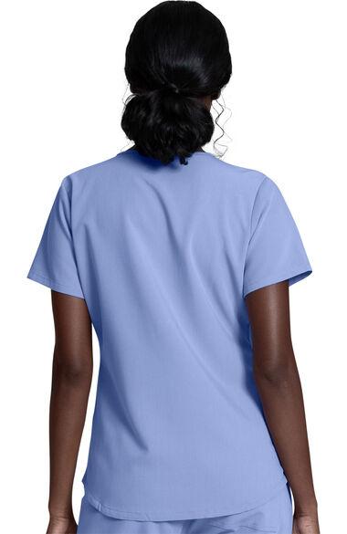 Women's V-Neck Solid Scrub Top, Knit Underscrub & Jogger Scrub Pant Set, , large