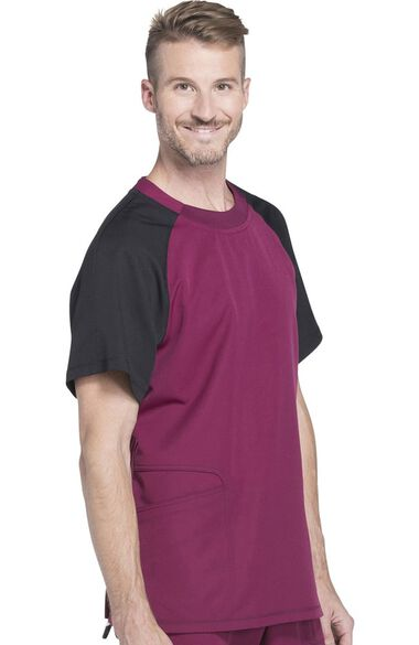 Clearance Men's Crew Neck Colorblock Raglan Sleeve Solid Scrub Top, , large
