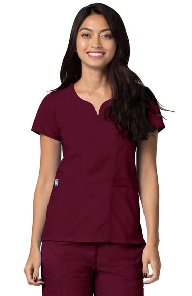 Women's Curved Neck Solid Scrub Top, , large