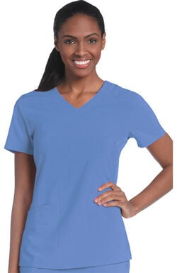 Women's Motivate V-Neck Solid Scrub Top with Tonal Stitching
